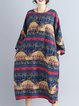Navy Blue Casual Printed Linen H-line Dress