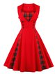 Swing Women Cocktail Sleeveless Vintage Checkered/Plaid Prom Dress