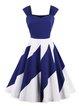 Blue Women Vintage Dress Off Shoulder Swing Cocktail Spaghetti Paneled Dress