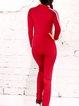 V Neck Polyester Stripes Long Sleeve Jumpsuits & Romper