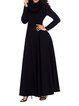 Women Elegant Dress Cowl Neck Swing Folds Solid Dress
