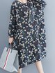 Floral Long Sleeve  Crew Neck Casual Dress
