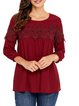 Elegant Floral 3/4 Sleeve Guipure lace Crew Neck Shirts  Blouse