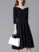 Black Women Elegant Dress Off Shoulder Daytime Elegant Cotton Dress