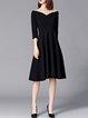 Off Shoulder Black Swing Women Going out 3/4 Sleeve Cotton Elegant  Elegant Dress