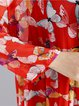 Crew Neck Slit Long sleeve Print Dresses