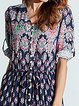 Spaghetti  A-line Women Half Sleeve Slit Floral Floral Dress