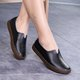 Solid Split Leather Slip On Casual Loafers