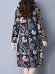 Long Sleeve Floral-print Floral Vintage Crew Neck Dress