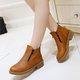 Zipper Low Heel Casual PU Martin Boots