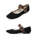 Buckle Suede Mary Jane Flats