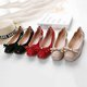 Bowknot PU Square Toe Elastic Slip On Flats