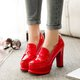 Chunky Heel Party PU Platform Pumps