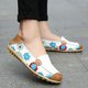 Large Size Floral Print Split Leather Casual Flats