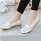 Large Size Split Leather Hollow-out Flats