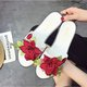Casual Rose Applique PU Flat Heel Slippers