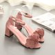 Applique Chunky Heel Suede Buckle Strap Sandals