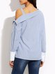 Light Blue Slash Neck Casual Cotton-blend Blouse