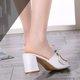 Elegant PU Buckle Chunky Heel Slippers