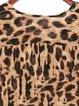 Brown Long Sleeve Leopard Print Tunic Top