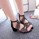 Rhinestone Suede Hollow-out Chunky Heel Zipper Sandals