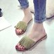 Women Tassel Suede Open Toe Slippers