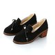 Casual Pigskin Leather Bowknot  Slip On Chunky Heel Shoes