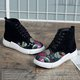 Floral Embroidered Lace-up Suede High-top Sneakers