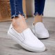 Solid Split Leather Flat Heel Casual Slip On Loafers