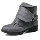 PU Low Heel Buckle Slip On Martin Boots