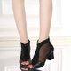 Breathable Mesh Rhinestone Chunky Heel Microfiber Leather Boots