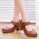 Buckle Strap Casual PU Chunky Heel Sandals