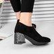 Sequin Chunky Heel Zipper Flocking Boots