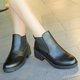 Black PU Elastic Slip On Short Boots