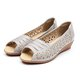 Genuine Leather Peep Toe Hollow-out Wedge Heel Shoes