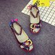 Large Size Cloth Beads Lace-up Flat Heel Sandals