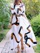 White Women Casual Dress V neck A-line Beach Short Sleeve Geometric Dress