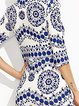 Blue Sheath Women Going out Cotton-blend Half Sleeve Floral-print Floral Prom Dress