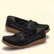 Breathable Hollow-out Split Leather Daily Loafers