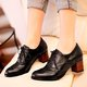 Hollow-out Daily PU Chunky Heel Boots