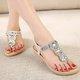 Rhinestone Clip Toe PU Flat Heel Sandals
