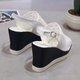 Mesh Peep Toe Adjustable Buckle Wedge Heel Shoes