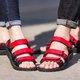 Large Size Cloth Tanjun Flat Heel Magic Tape Sandals