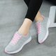 Mesh Fabric Low Heel All Season Athletic Lace-up Sneakers