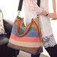 Multicolor Stripe Large Capacity Canvas Handbag Crossbody Bag For Women