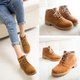 Low Heel Lace-up Suede Martin Boots