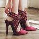 Stiletto Heel Flocking Lace-up Pumps