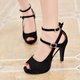 Large Size Adjustable Buckle Artificial Nubuck Pumps