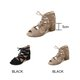 Flocking Chunky Heel Zipper Sandals