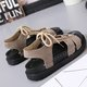 Artificial Nubuck Flat Heel Lace-up Sandals